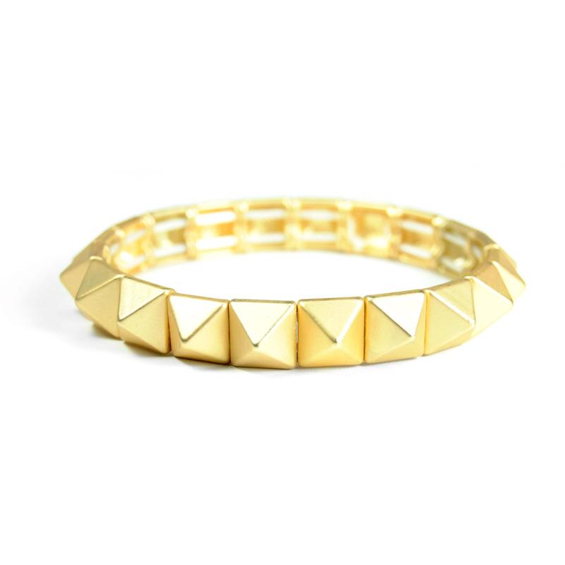 Urban Gem Pyramid Stud Stretch Bracelet in Gold