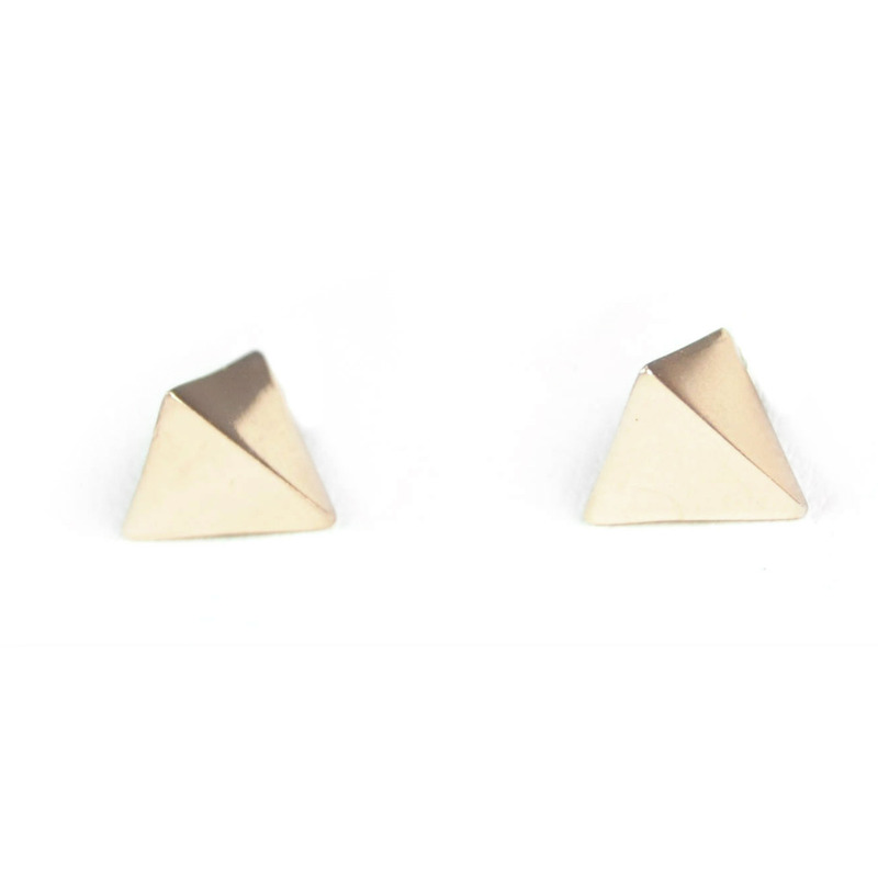 Urban Gem Pyramid Spike Earrings in Gold