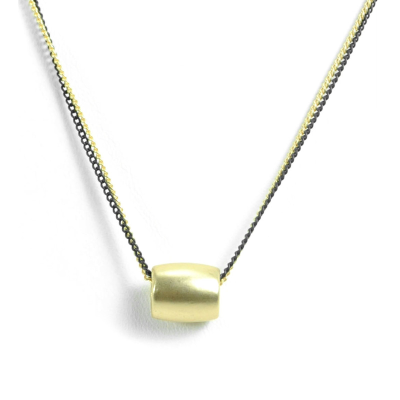 Urban Gem Bead Two Chains Necklace in Gold