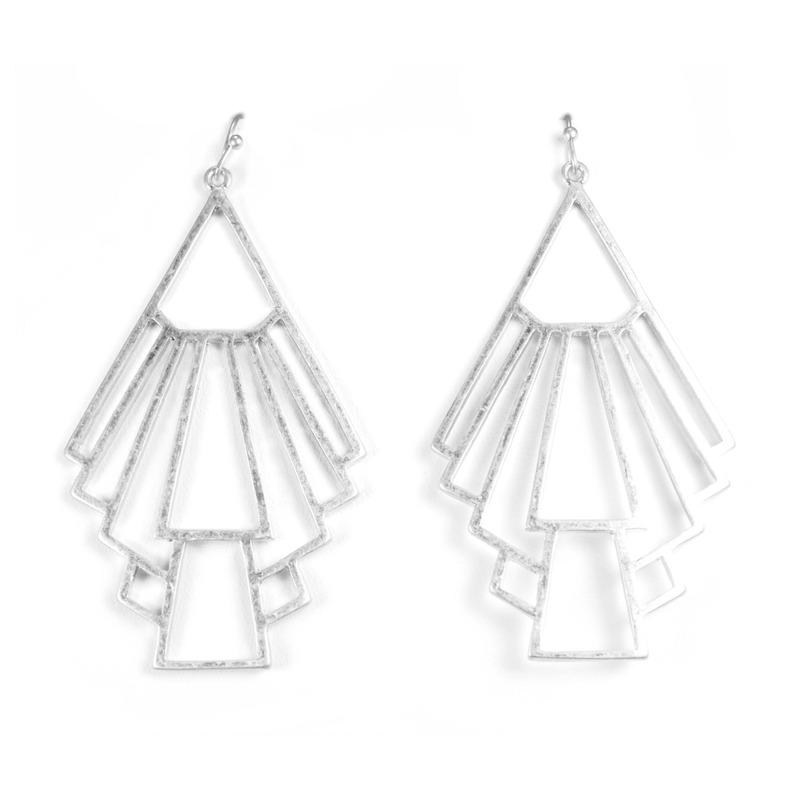 Urban Gem Deco Drop Outline Earrings in Silver