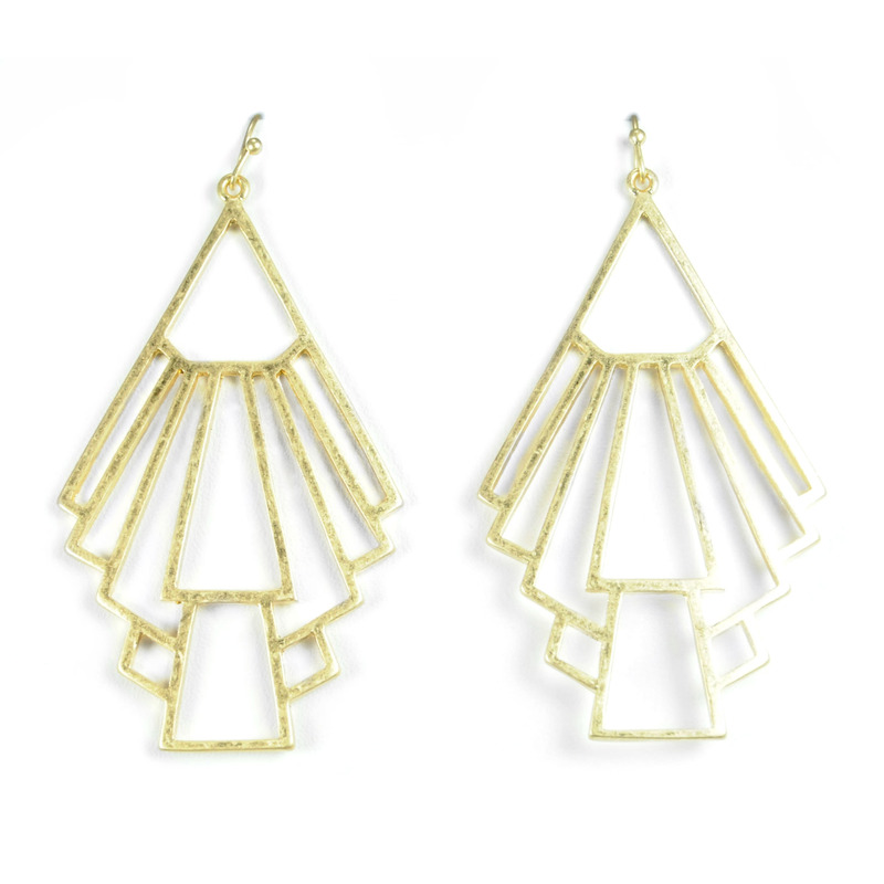 Urban Gem Deco Drop Outline Earrings in Gold