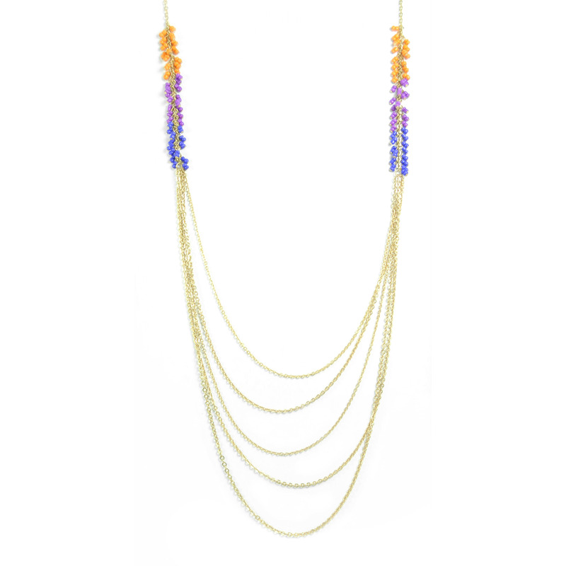 Urban Gem Beaded Fringe Chains in Orange/Blue/Purple