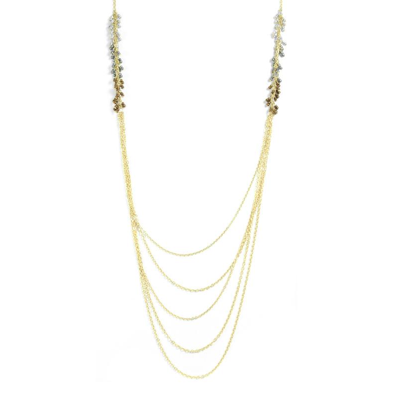 Urban Gem Beaded Fringe Chains in Silver/Rhodium/Bronze