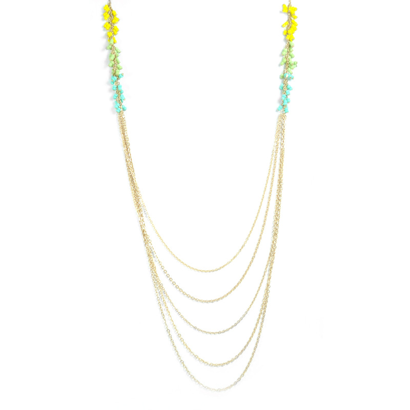 Urban Gem Beaded Fringe Chains in Yellow/Green/Blue