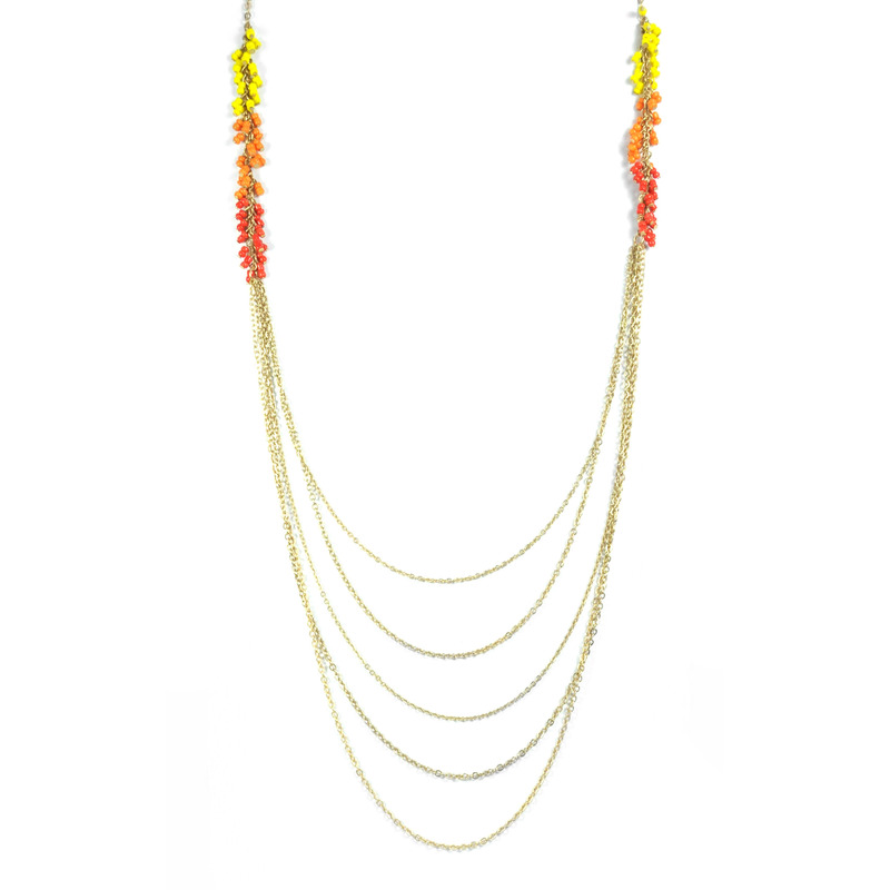 Urban Gem Beaded Fringe Chains in Red/Orange/Yellow