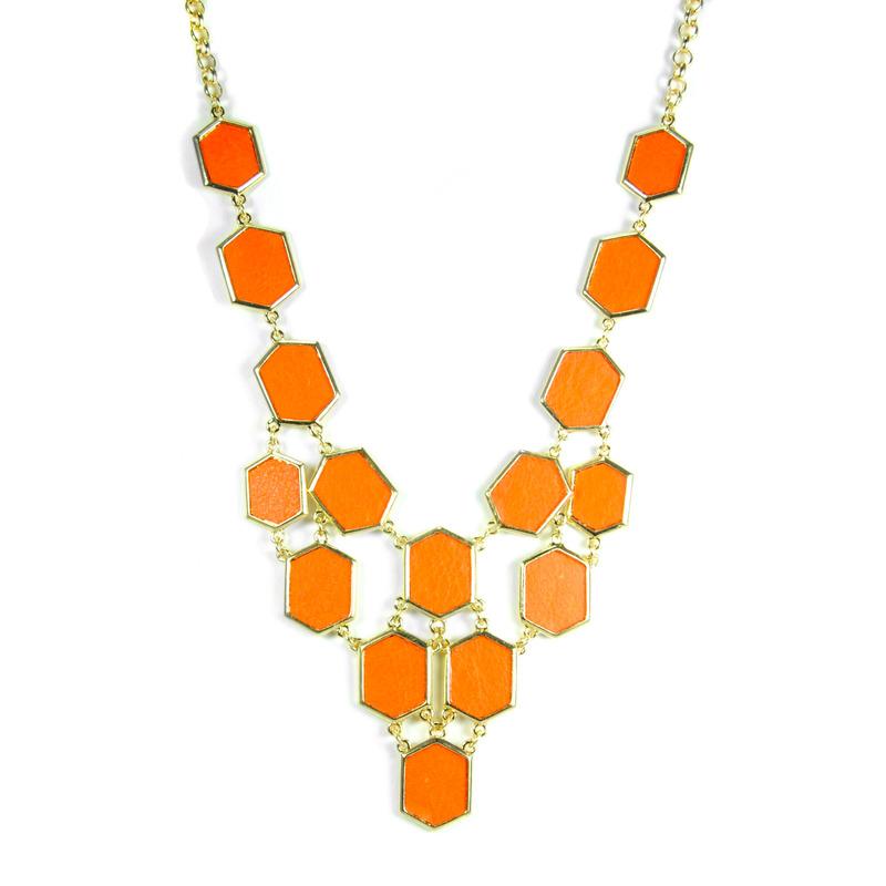 Urban Gem Honeycomb Bib Necklace in Orange