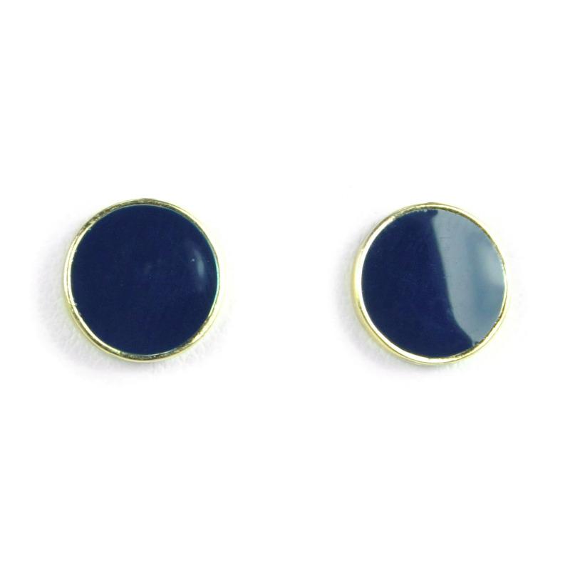 Urban Gem Dot Earrings in Navy