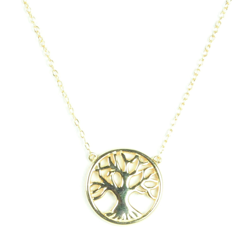 Urban Gem Oak Tree Necklace in 14kt Gold Plate