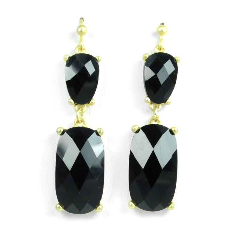 Urban Gem Faceted Faux Stone Double Drop Earrings