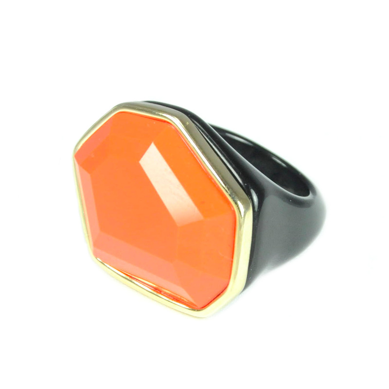 Urban Gem Faceted Faux Stone Ring in Orange