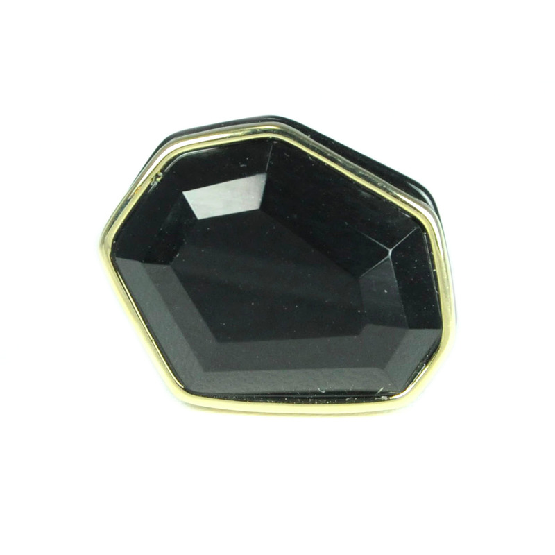 Urban Gem Faceted Faux Stone Ring in Black