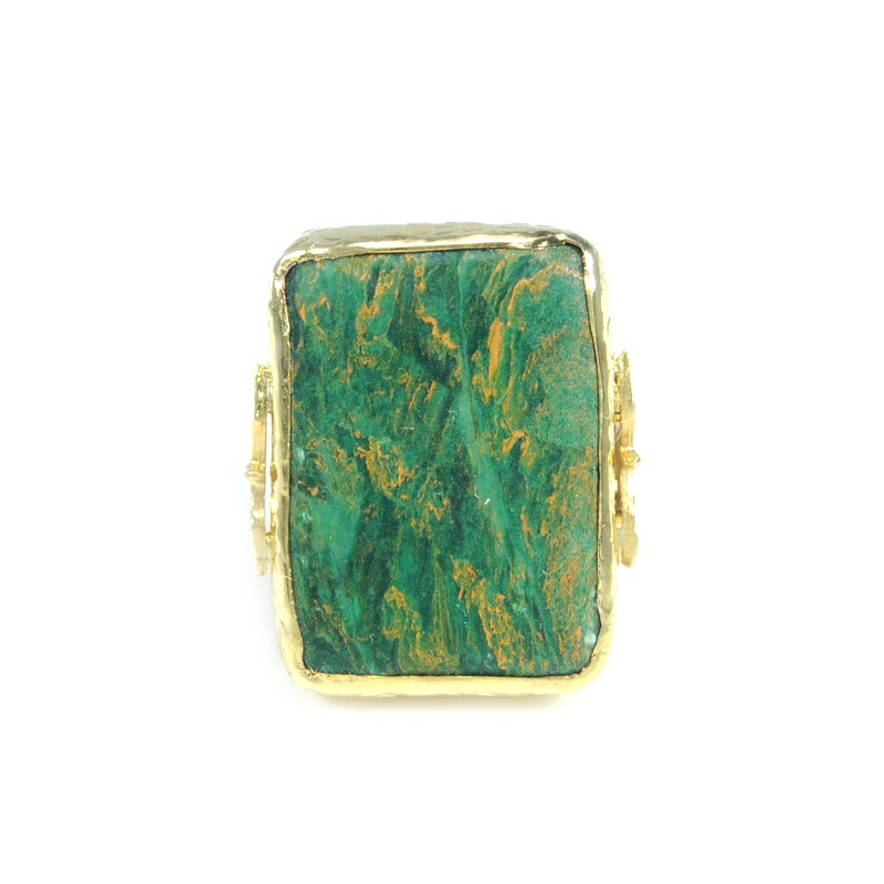 Robyn Rhodes Bailey Ring in Gold and Green Agate