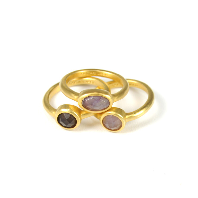 Lucas Jack Smokey Quartz and Amethyst Ring Trio