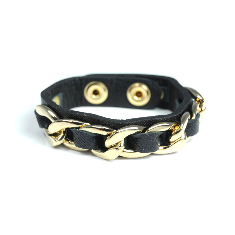 Urban Gem Chained Leather Snap Bracelet in Black
