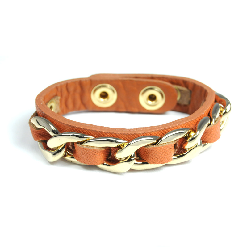 Urban Gem Chained Leather Snap Bracelet in Chestnut