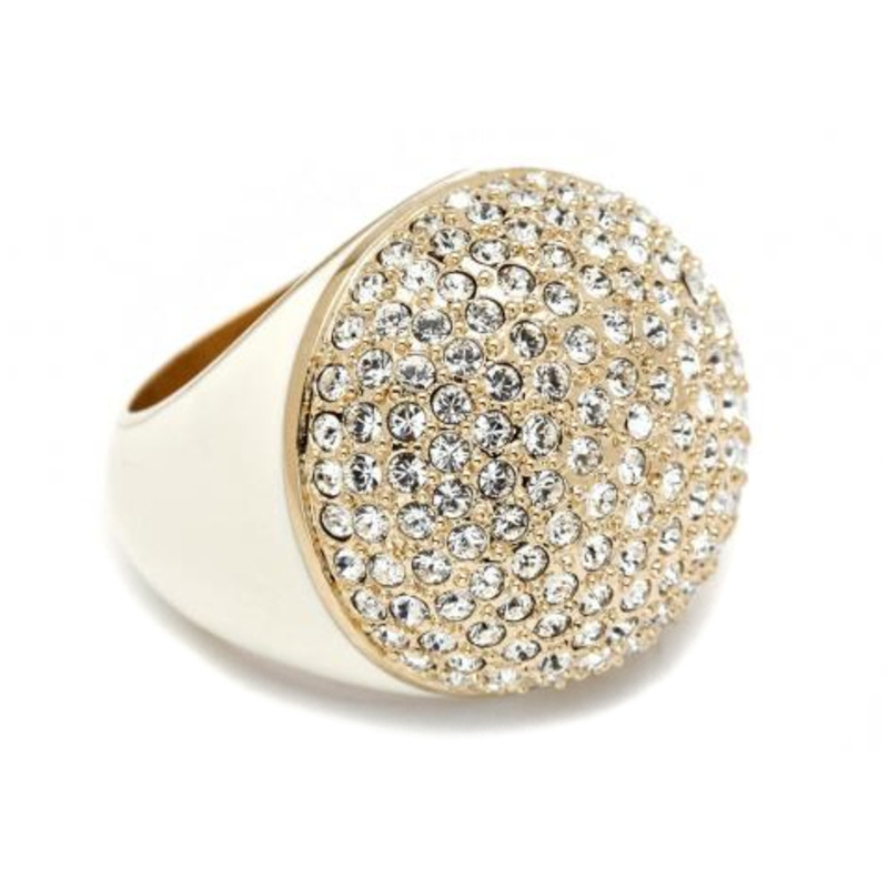 CC Skye Enamel Pave Dome Ring in Cream