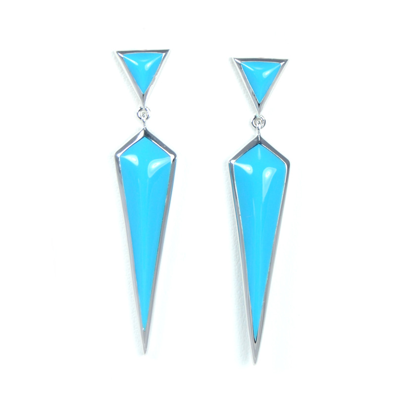 Lucas Jack Geo Drop Dangle Earrings in Turquoise and Silver