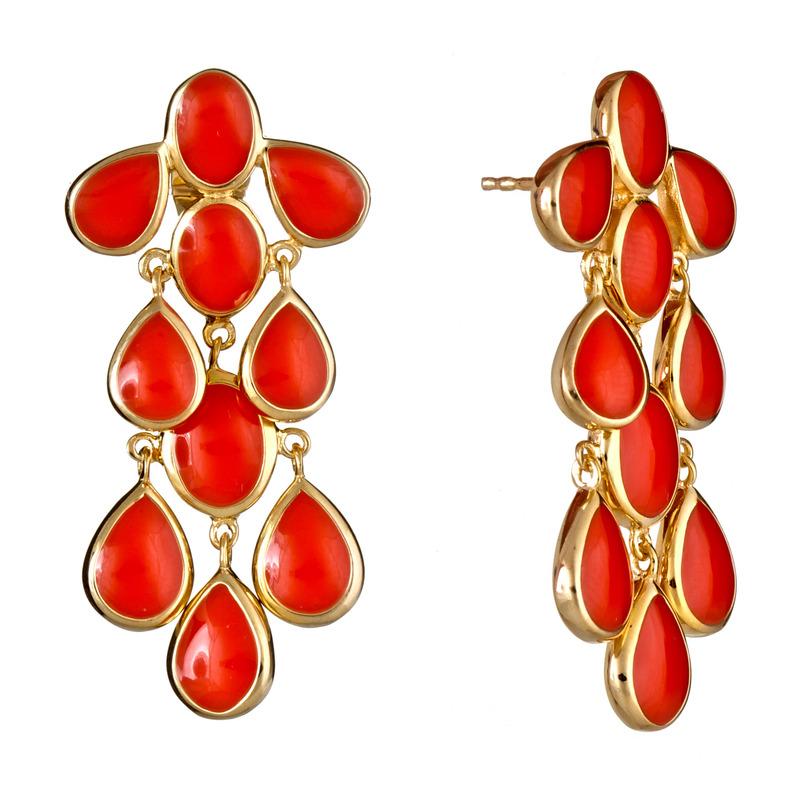 Isharya Coral Cascade Enamel Earrings