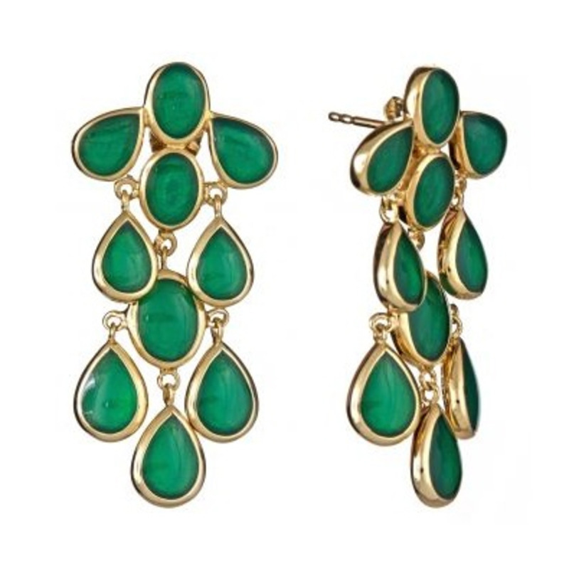 Isharya Emerald Cascade Enamel Earrings