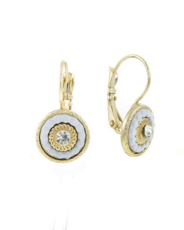 Urban Gem Victorian Crystal French Clip Earrings in White