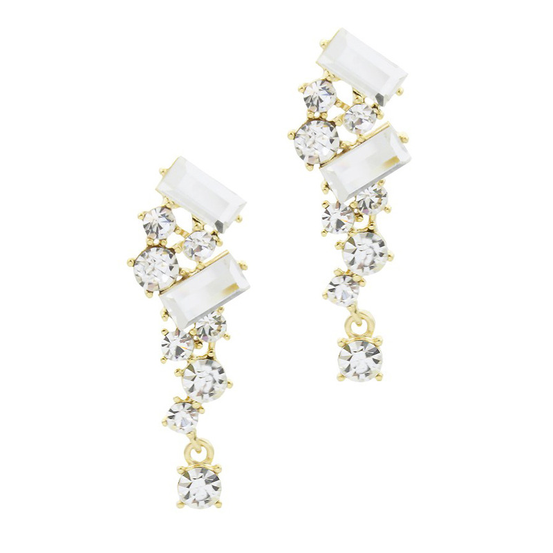 Urban Gem Falling Crystal Earrings in White