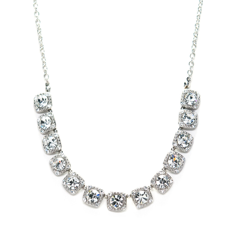 Urban Gem Crystal Squares Collar Necklace