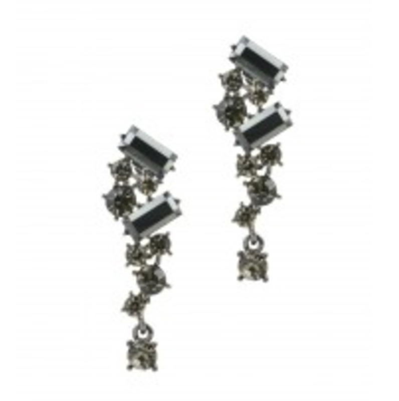 Urban Gem Falling Crystal Earrings in Black