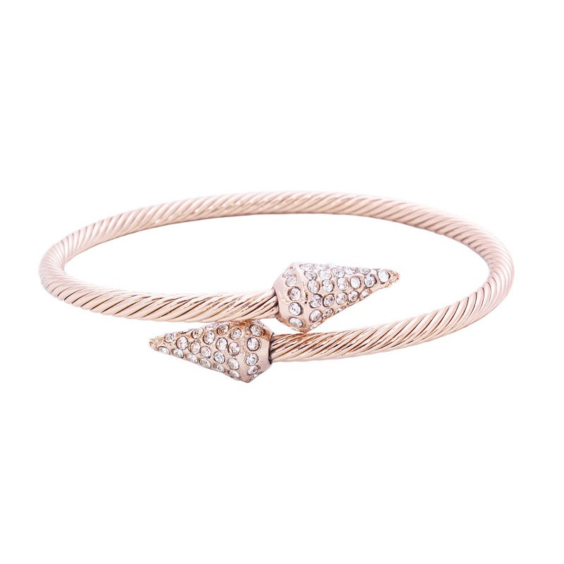Urban Gem Pave Spike Cable Bangle in Rose Gold