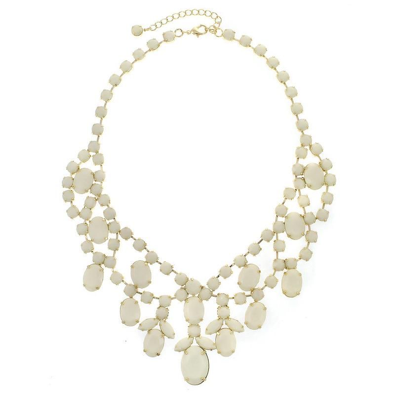 Urban Gem Royal Treatment Jeweled Bib Necklace in White