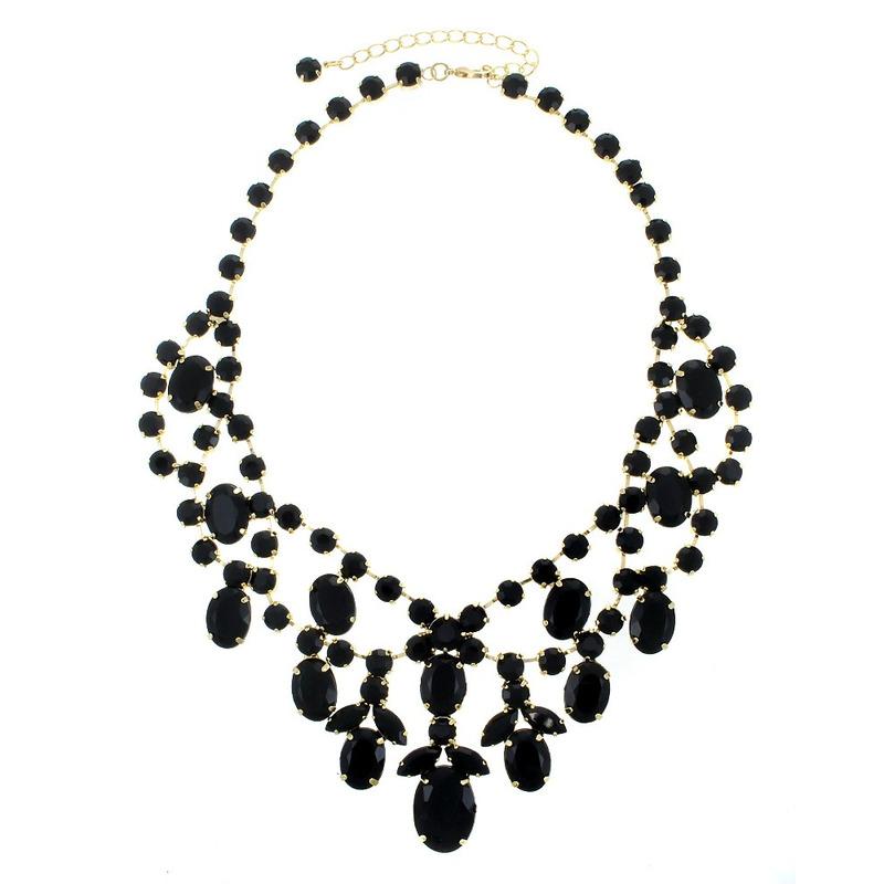 Urban Gem Royal Treatment Jeweled Bib Necklace in Black