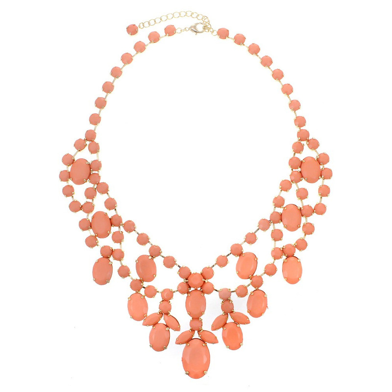 Urban Gem Royal Treatment Jeweled Bib Necklace in Coral