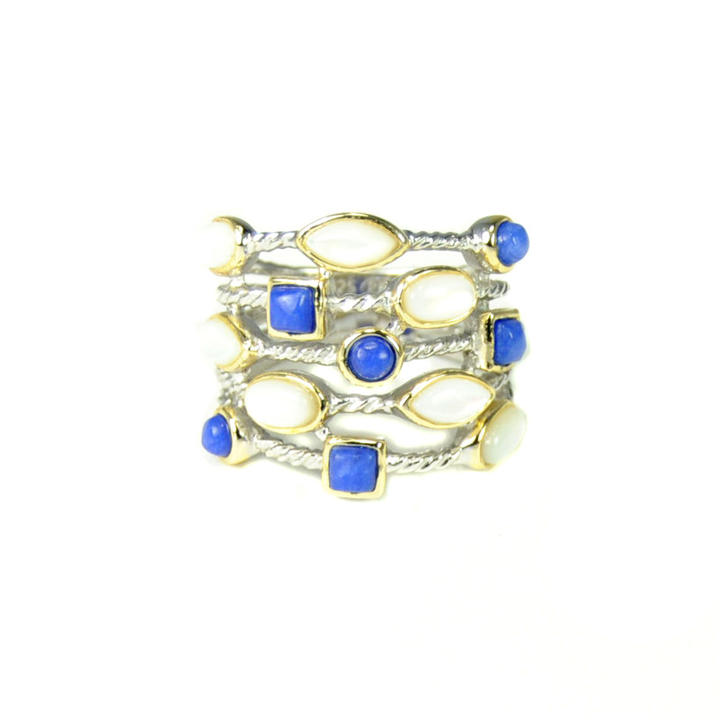 Urban Gem Sterling Silver Stacked Rope Ring in Lapis
