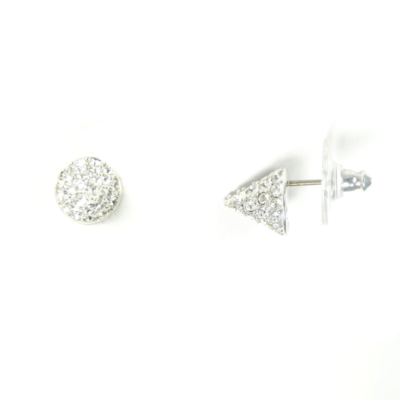 CC Skye Mini Rock Stud Earrings in Silver