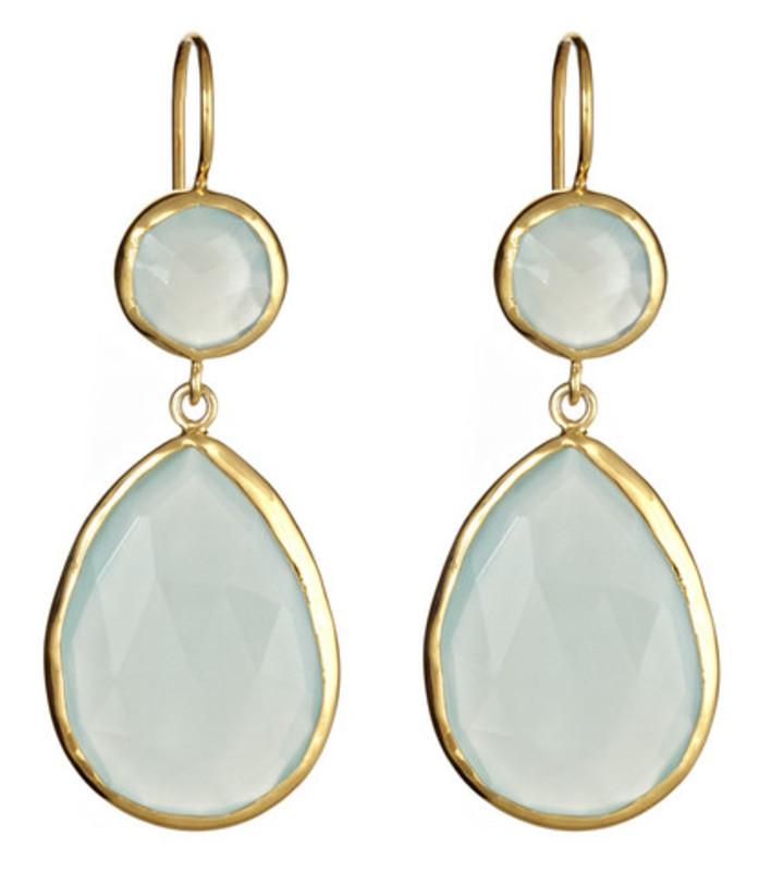 Margaret Elizabeth Two Stone Drop Earrings in Aqua