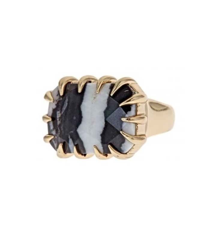 Isharya Zebra Jasper Claw Ring in 18kt Gold