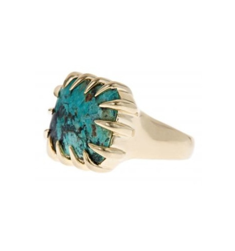 Isharya African Turquoise Claw Ring in 18kt Gold