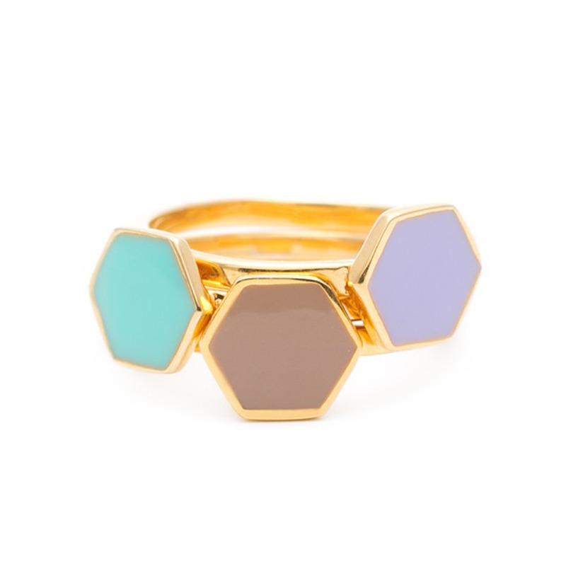 Gorjana Bloom Hexagon Ring Set in Lilac/Beach Glass/Macaroon