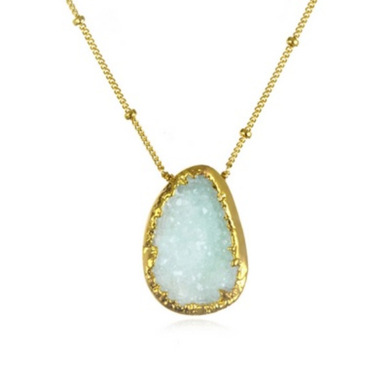 Margaret Elizabeth Teardrop Druzy Necklace in Blue
