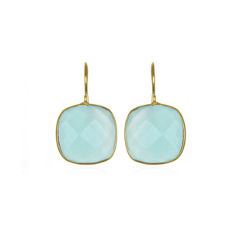 Margaret Elizabeth Cushion Cut Drop Earrings in Aqua Chalcedony