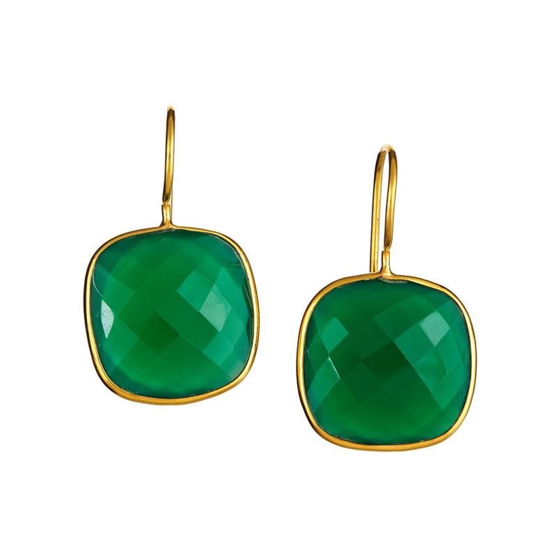 Margaret Elizabeth Cushion Drop Earrings in Emerald
