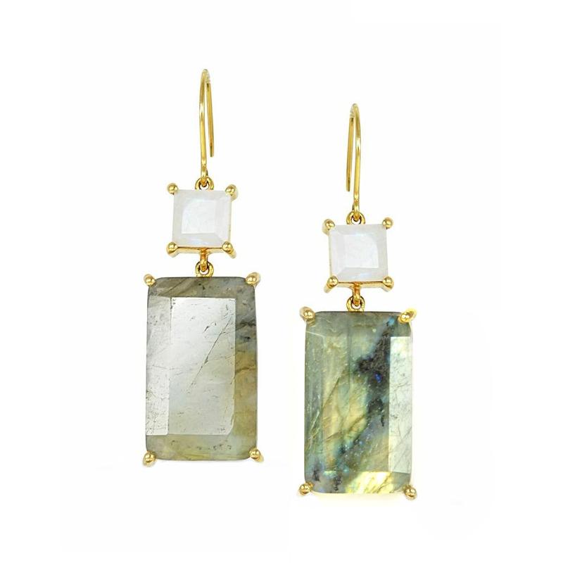 Margaret Elizabeth Emerald Cut Two Stone Drop Earrings in Moonstone and Labradorite
