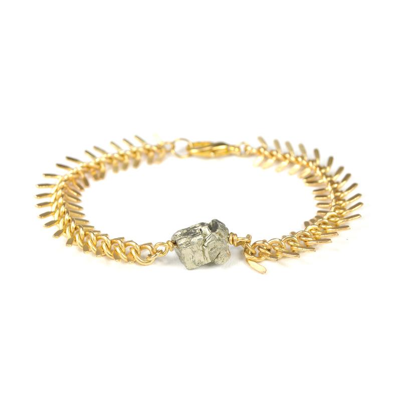 Salty Fox Jewelry Fishbone Pyrite Bracelet