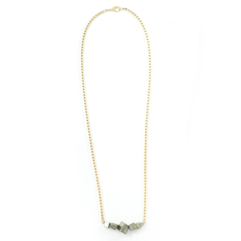 Salty Fox Jewelry Pyrite Box Chain Necklace