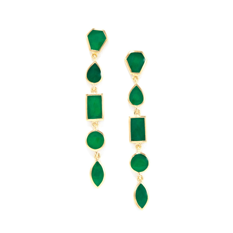 Isharya Emerald Green Shattered Enamel Earrings