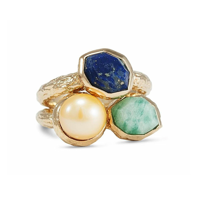 Isharya Cluster Goddess Stacking Rings in Amazonite, Lapis and Pearl