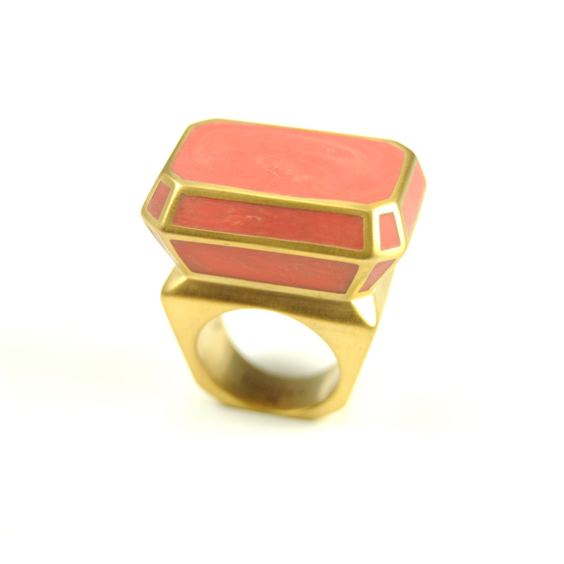 Isharya Pyramid Luxe Ring in Coral