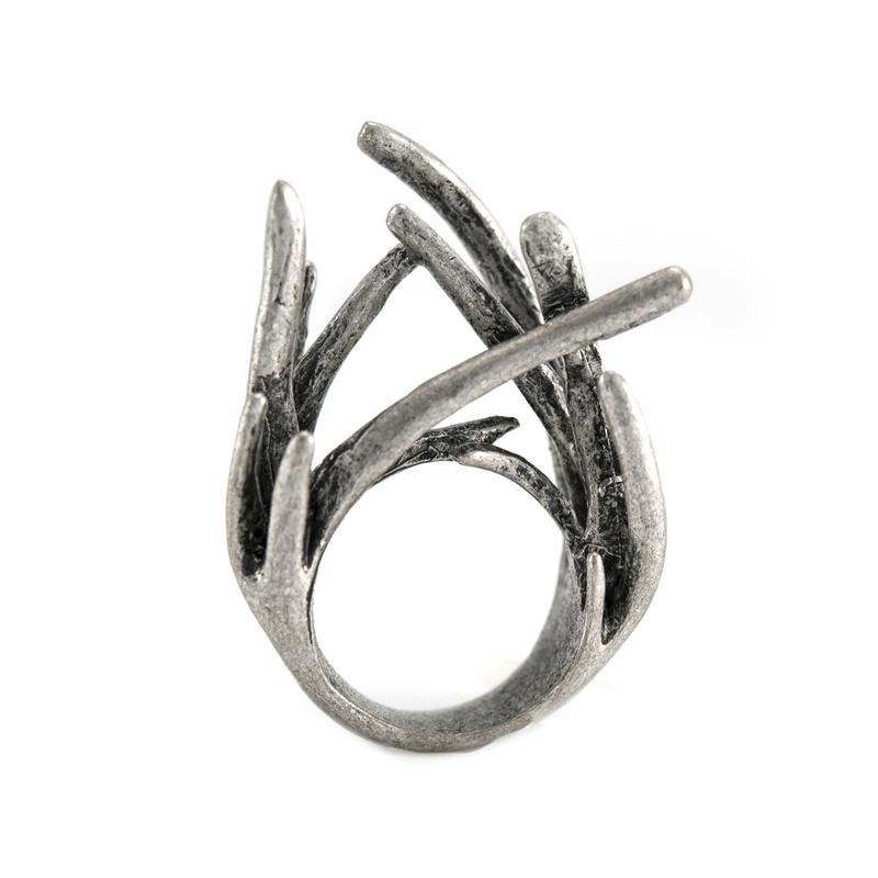 Urban Gem Twig Ring in Antique Silver