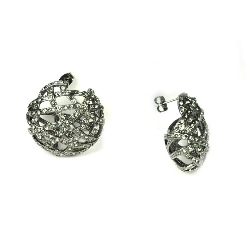 Urban Gem Jackie O. Earrings in Rhodium