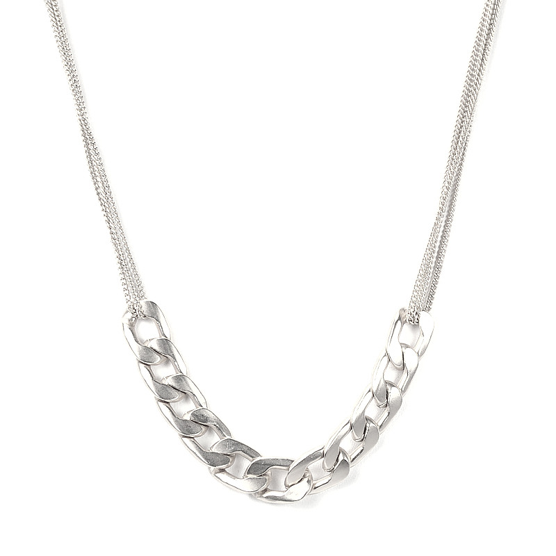 Urban Gem Chain Chain Chain Necklace in Silver