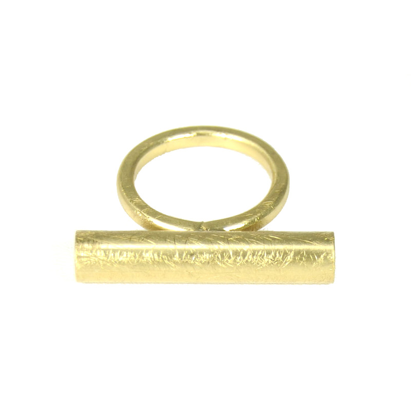 Urban Gem Bar None Ring in Brushed Gold